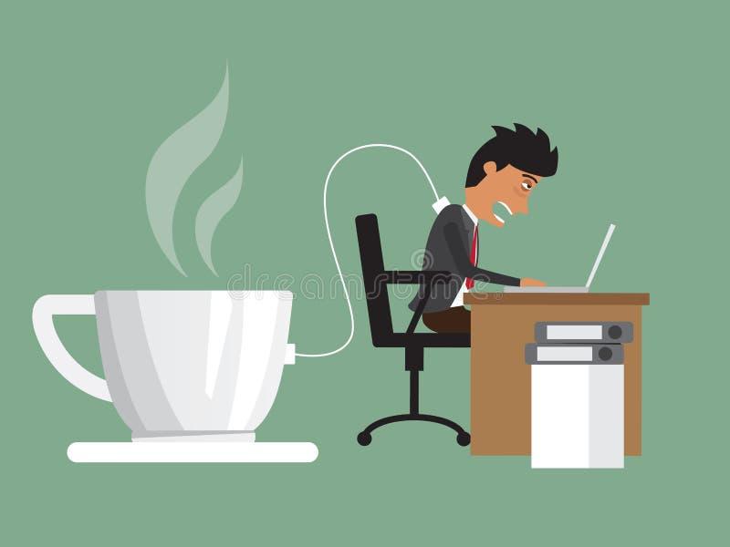 Geschäftsmann hart arbeitend mit Bedarf eine Energie, die vom Kaffee auflädt vektor abbildung