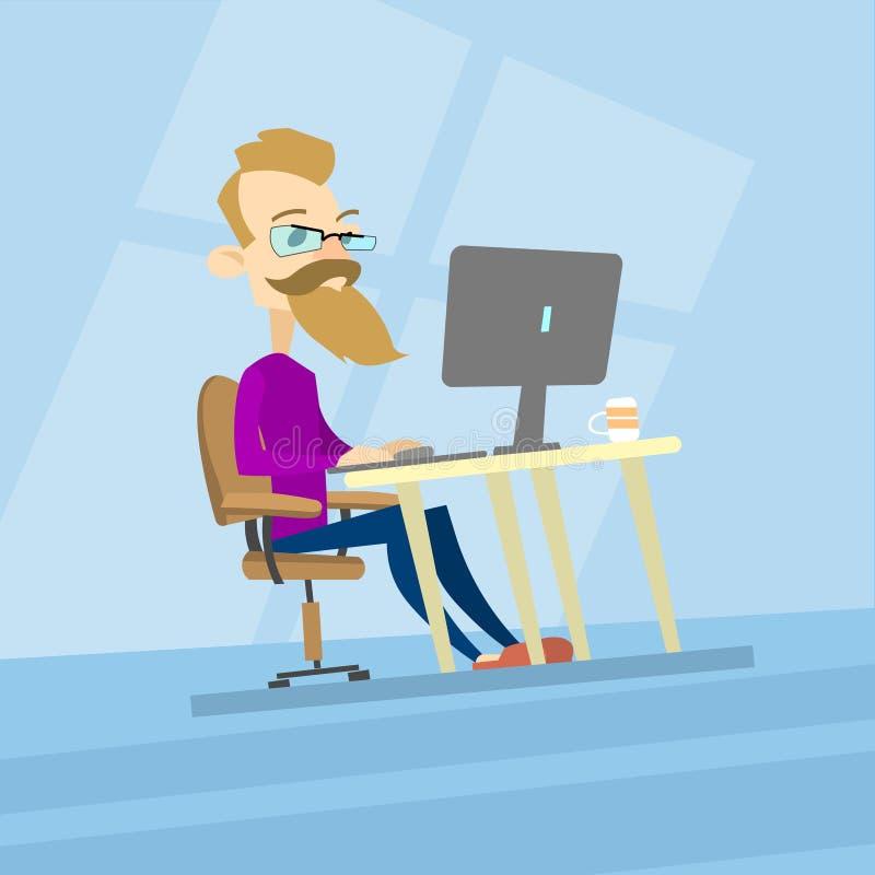 Geschäftsmann-Hippie-Arbeits-Computer, Tischplattenart zufälliger Blogger, Freiberufler lizenzfreie abbildung