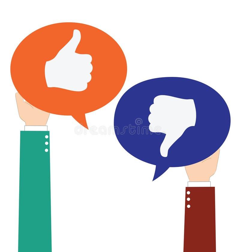 Geschäftsmann Hold Like und anders als Sprache-Blase vektor abbildung