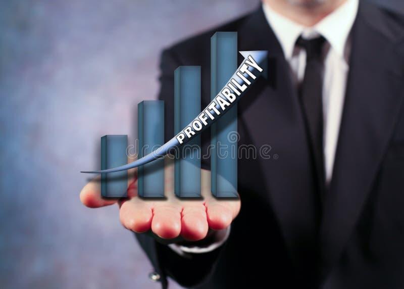 Geschäftsmann Holding Bar Graph lizenzfreies stockbild