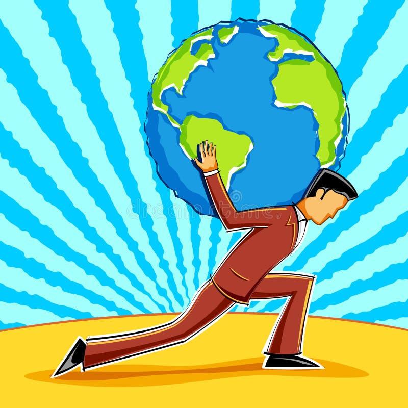 Geschäftsmann-Holding Erde vektor abbildung