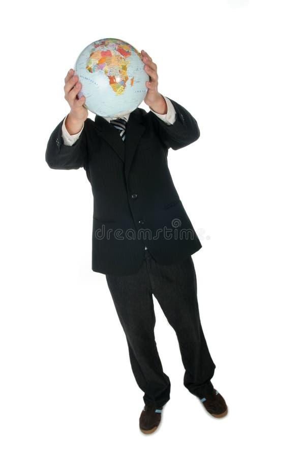 Geschäftsmann-Holding-Kugel lizenzfreie stockfotos