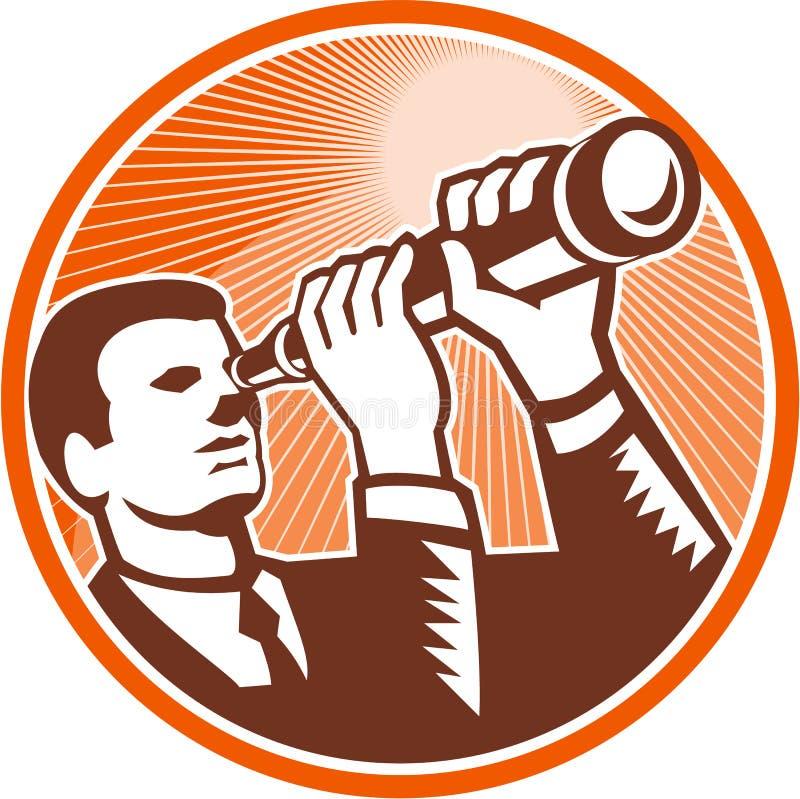 Geschäftsmann-Holding Looking Telescope-Holzschnitt vektor abbildung