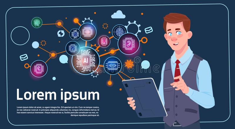 Geschäftsmann Holding Presentation Stand über Digital-Schirm mit Diagrammen und Diagramm Infographics-Geschäftsmann-Seminar oder stock abbildung
