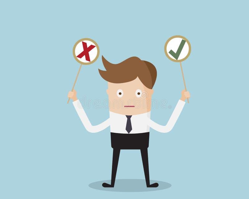 Geschäftsmann Holding Yes oder kein Aufkleber lizenzfreie abbildung