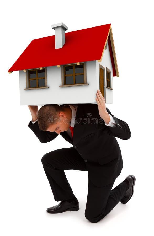 Geschäftsmann-Holdinghaus auf seinem zurück lizenzfreies stockfoto