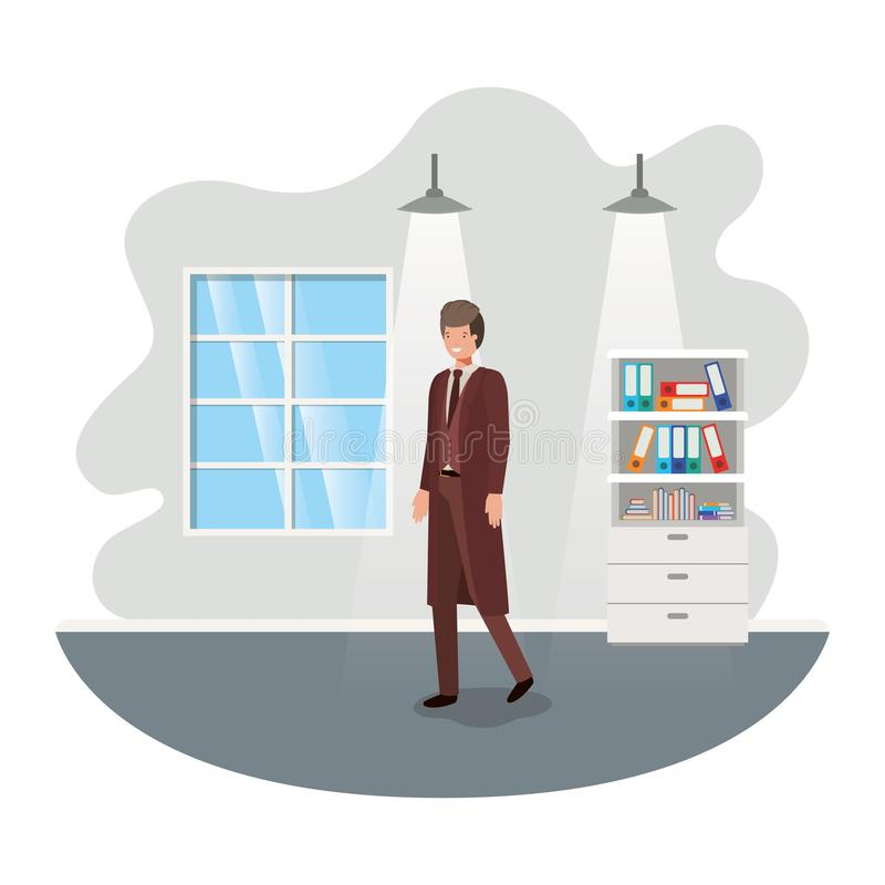 Geschäftsmann im Arbeitsbüro-Avataracharakter vektor abbildung