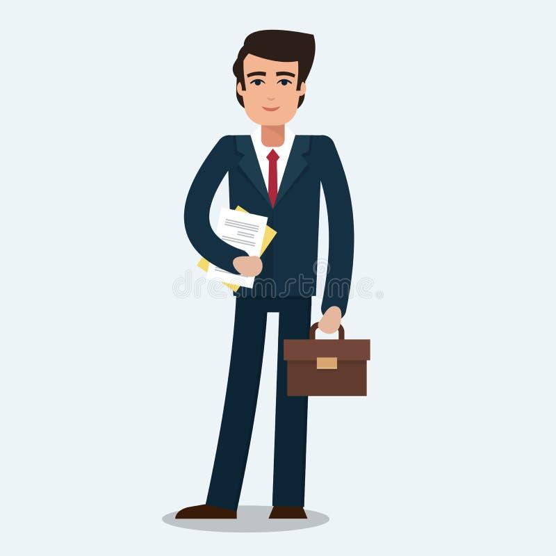 Geschäftsmann im Büro stock abbildung