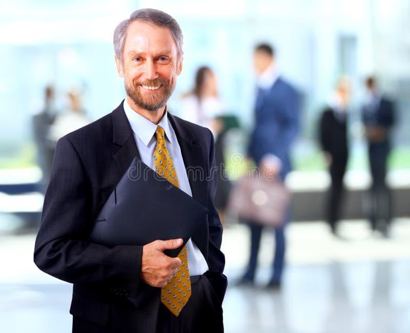 Geschäftsmann im Büro, das eine Gruppe führt lizenzfreies stockbild