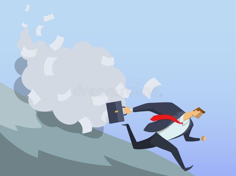 Geschäftsmann im Büroanzug, der schnellen Abstieg der Hügel laufen lässt Anticrisis Managements Sofortmaßnahmen Kanzleimäßige Pro stock abbildung