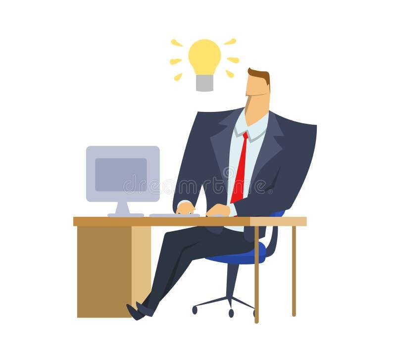 Geschäftsmann im Büroanzug, der vor Computer mit einer Glühlampe der Idee über seinem Kopf sitzt Glühlampenmoment vektor abbildung
