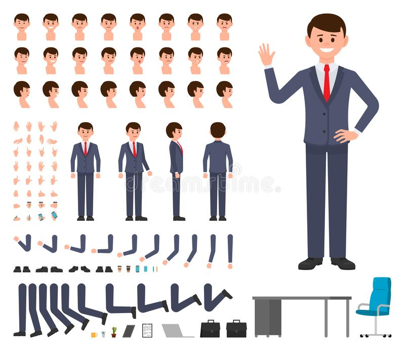 Geschäftsmann im Charakterschaffungssatz der dunkelblauen Klage Vektorkarikaturart-Bürovorstehererbauer lizenzfreie abbildung
