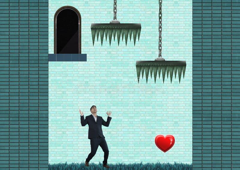Geschäftsmann im Computer-Spiel-Niveau mit Herzen und Fallen stock abbildung