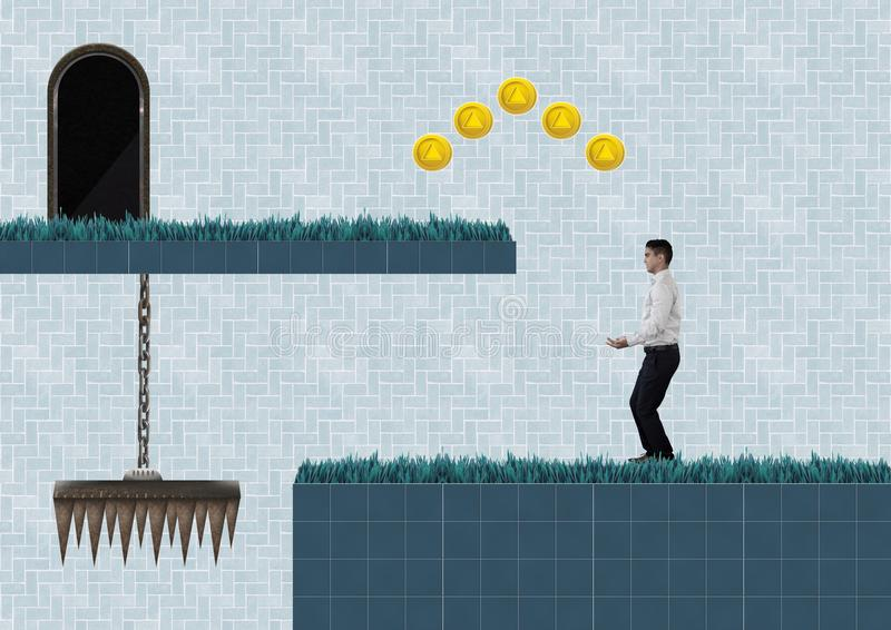 Geschäftsmann im Computer-Spiel-Niveau mit Münzen und Falle vektor abbildung