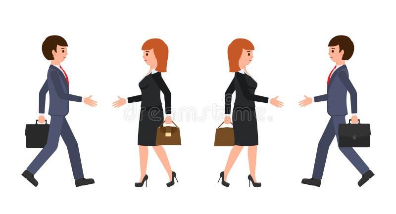 Geschäftsmann im dunkelblauen Anzug und in der Geschäftsfrau im schwarzen Anzug, der Hände rüttelt Vektorillustration der Zeichen lizenzfreie abbildung