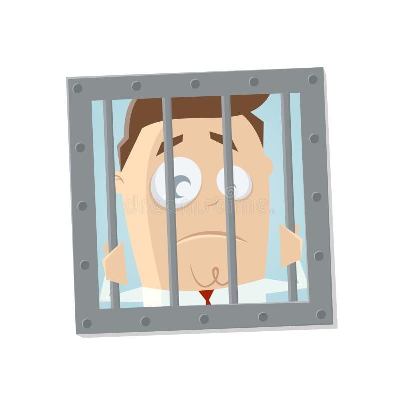 Geschäftsmann im Gefängnis lizenzfreie abbildung