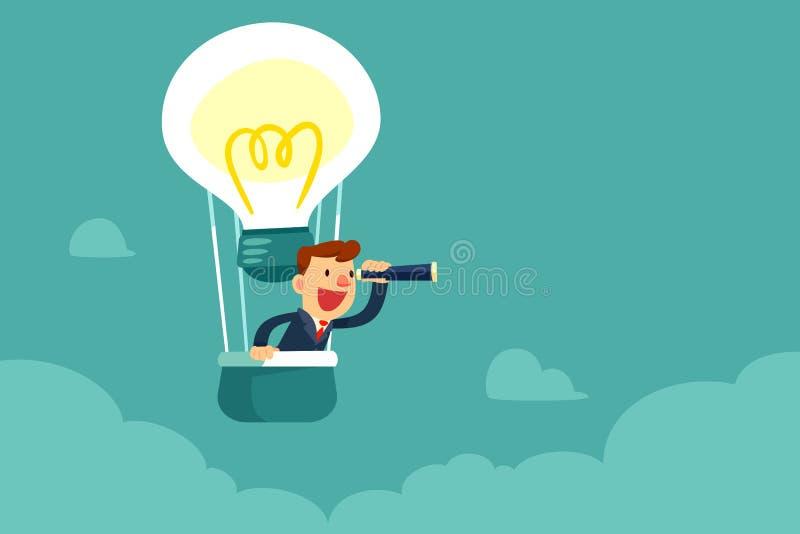 Geschäftsmann im Heißluftballon, der nach Gelegenheit sucht lizenzfreie abbildung