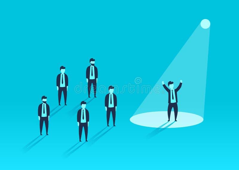 Geschäftsmann im Scheinwerfer Einstellung der menschlichen Ressource Personenerfolg, -angestellter und -karriere lizenzfreie abbildung