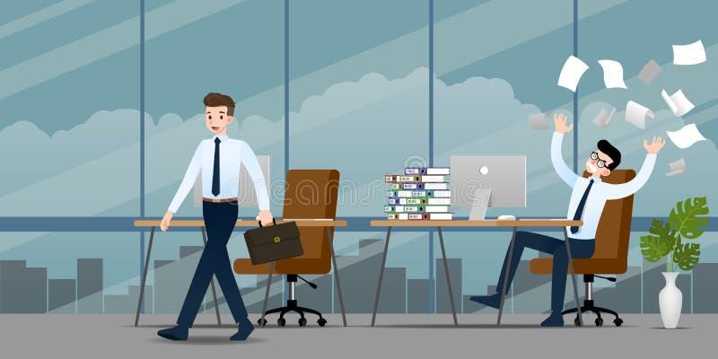 Geschäftsmann im unterschiedlichen Gefühl Zwei Geschäftsmänner haben Kontrastsituation der Dose der Arbeit eine beendeten und nac lizenzfreie abbildung