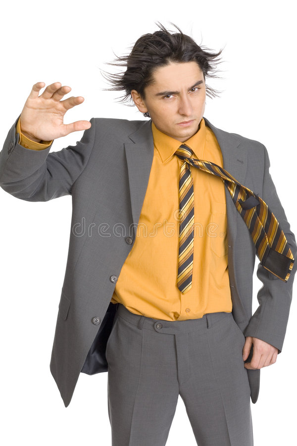Geschäftsmann im Wind lizenzfreie stockfotografie