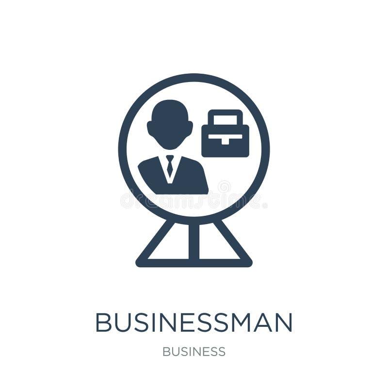 Geschäftsmann innerhalb einer Ballikone in der modischen Entwurfsart Geschäftsmann innerhalb einer Ballikone lokalisiert auf weiß vektor abbildung