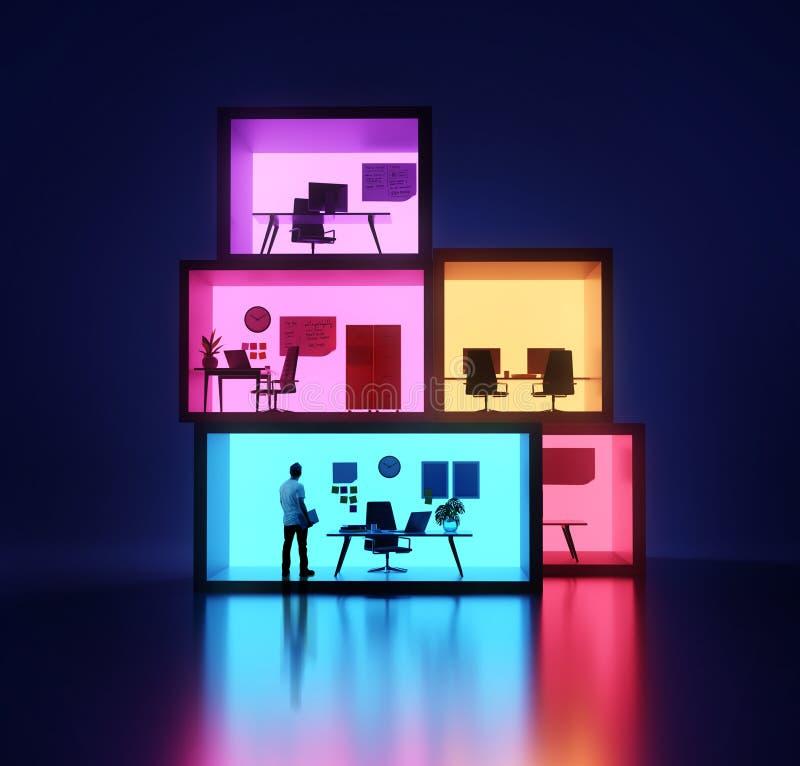 Geschäftsmann Inside Stacked Offices lizenzfreie stockfotos