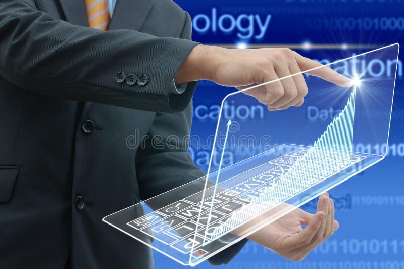 Geschäftsmann, intelligentes Technologiekonzept lizenzfreies stockbild