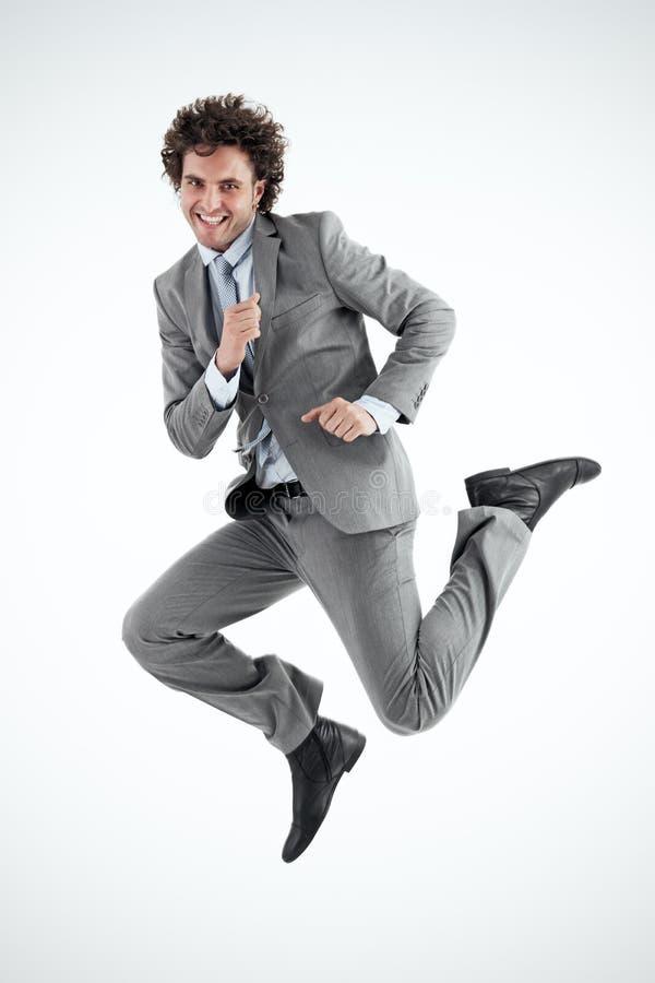 Geschäftsmann Jumping Happily stockbild