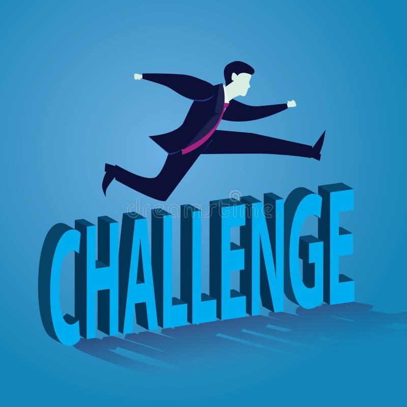 Geschäftsmann Jumping Over Challenge vektor abbildung