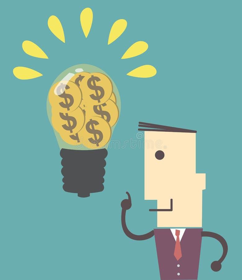 Geschäftsmann kann gute Idee erhalten, etwas zu tun Erfolg und thinki lizenzfreie abbildung