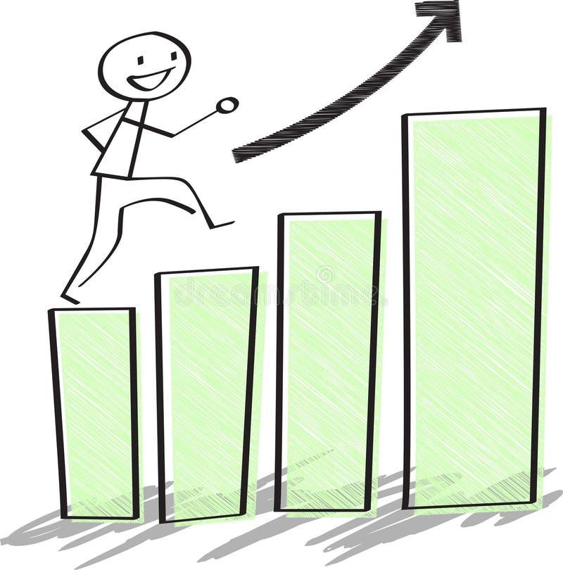 Geschäftsmann klettern oben Balkendiagramme Wachstumsgeschäftskonzept vektor abbildung