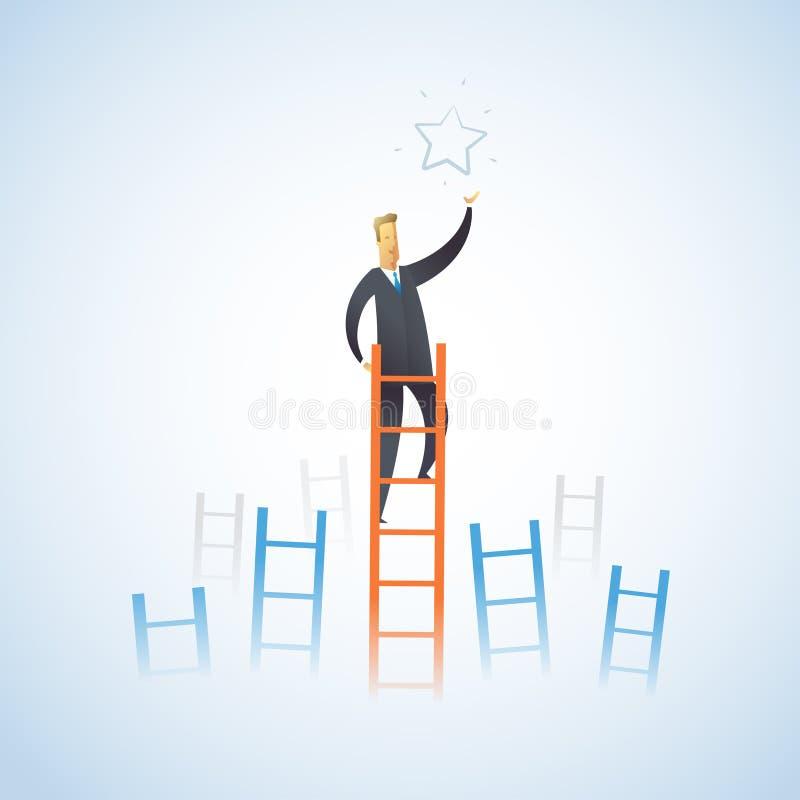Geschäftsmann klettert die Treppe, um einen Stern zu erhalten vektor abbildung