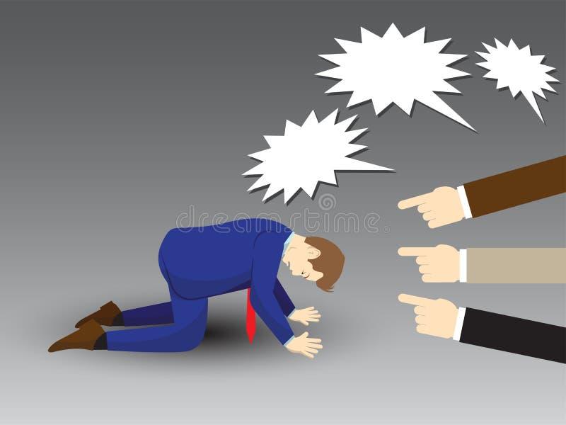Geschäftsmann Kneeling With Others, das an ihm zeigt und schreit stock abbildung