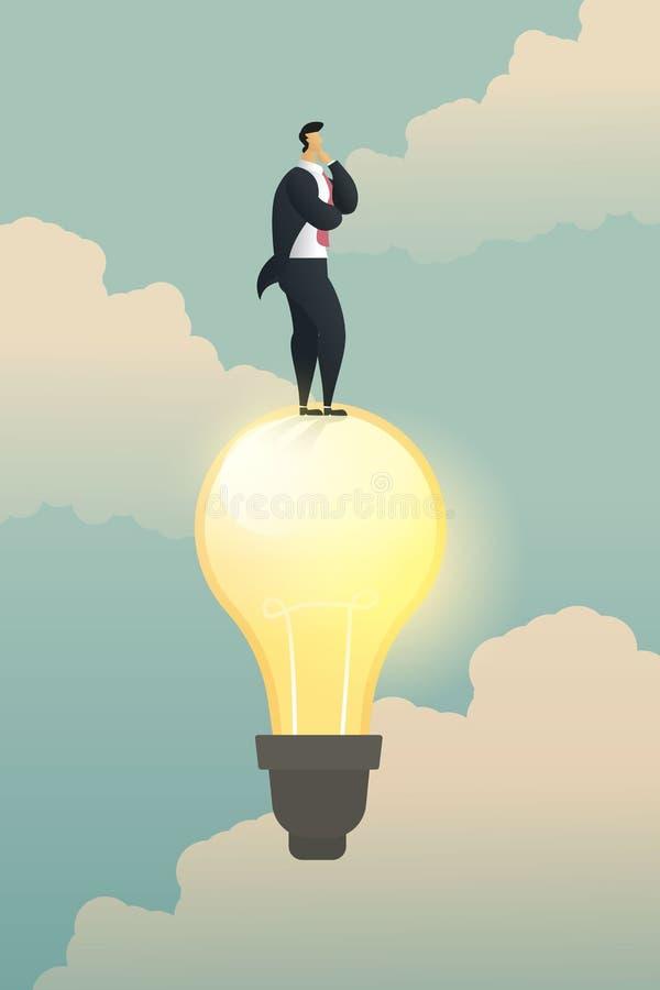Geschäftsmann-Lösungsstand der Kreativität denkender auf Glühlampe vektor abbildung