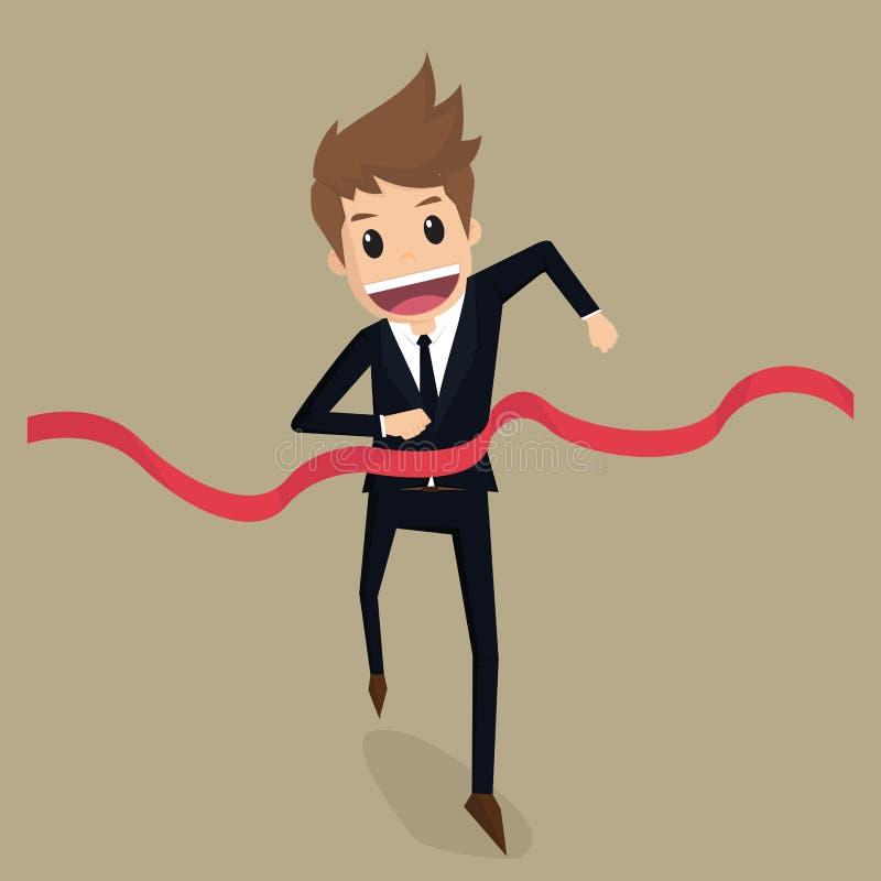 Geschäftsmann laufen gelassen zur Ziellinie lizenzfreie abbildung