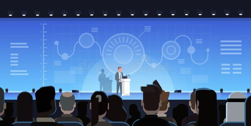 Geschäftsmann Leading Presentation Showing entwirft Berichte im Front Of Businesspeople Group Training-Sitzungs-Konzept lizenzfreie abbildung