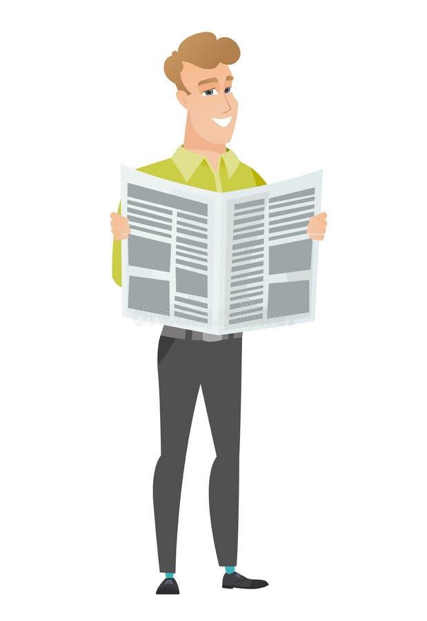 Geschäftsmann-Lesezeitungs-Vektorillustration lizenzfreie abbildung