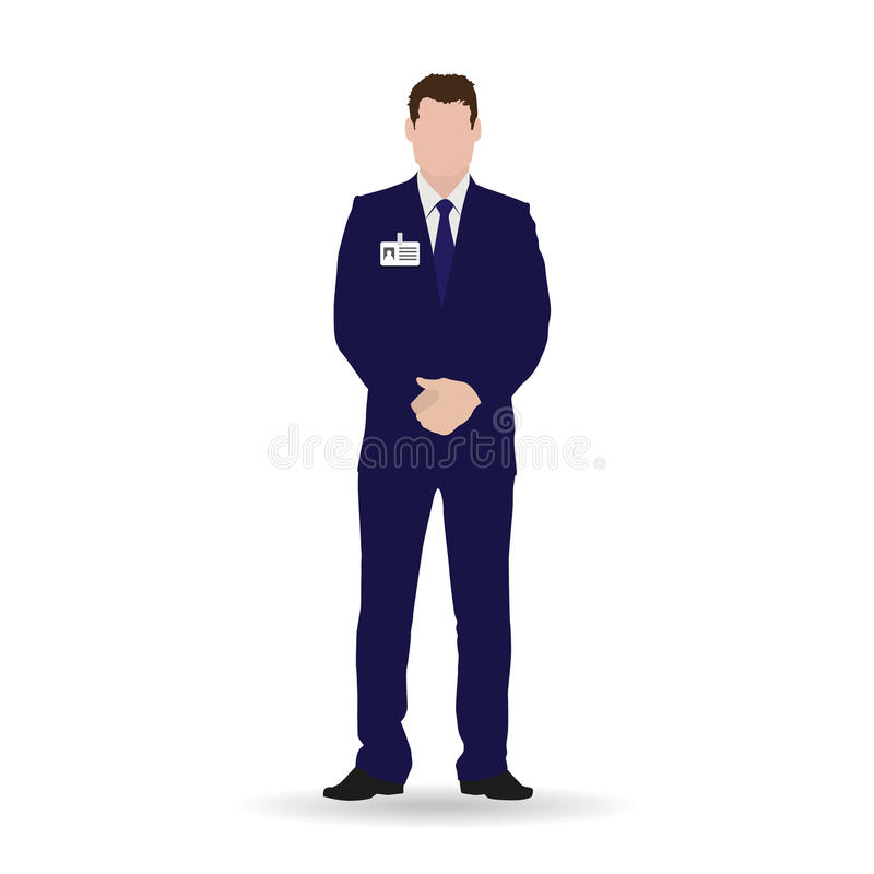 Geschäftsmann lokalisierte Vektorillustration Rechtsanwalt, Manager, Buchhalter, Vermittler, Geschäftseigentümer in der dunkelbla lizenzfreie abbildung