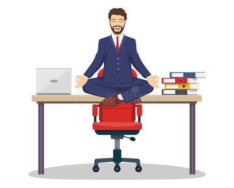 Geschäftsmann, Manager, der auf Schreibtisch sitzt stock abbildung