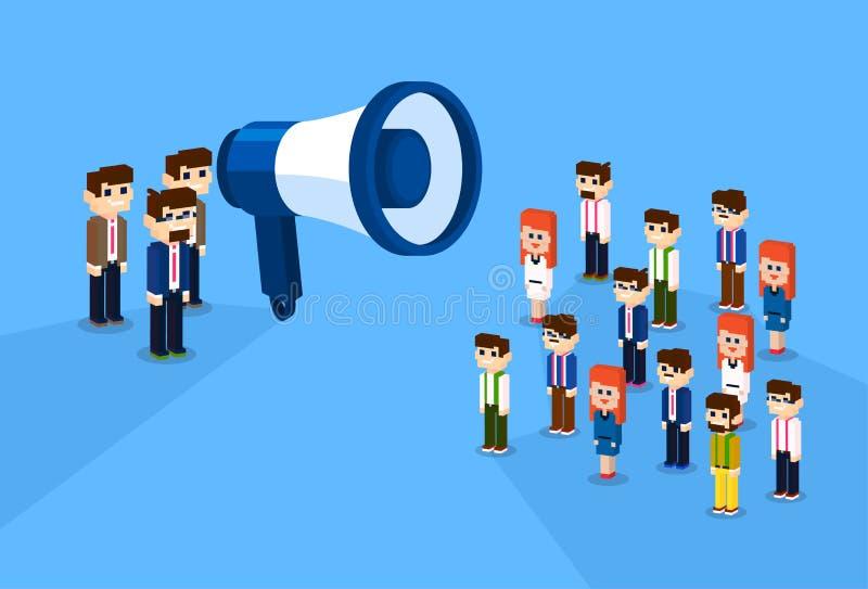 Geschäftsmann-Megaphone Loudspeaker Colleaguess Geschäftsleute Team Leader Group Businesspeople 3d isometrische Design- lizenzfreie abbildung