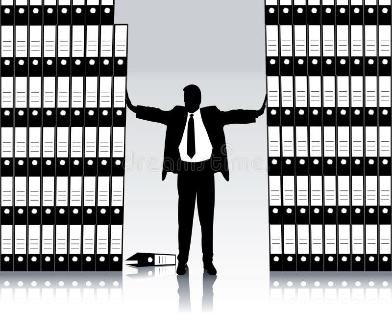 Geschäftsmann mit Archivierungsfaltblatt lizenzfreie abbildung
