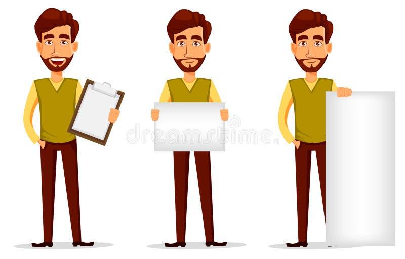 Geschäftsmann mit Bart, Karikaturzeichensatz Junger stattlicher Geschäftsmann vektor abbildung