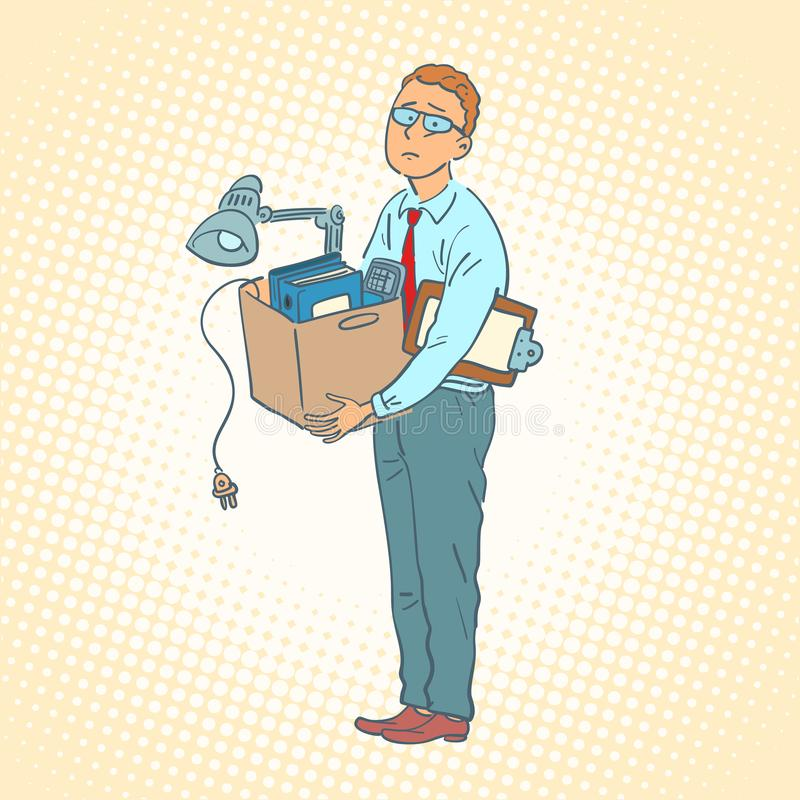 Geschäftsmann mit beweglichem Büro des Kastens lizenzfreie abbildung