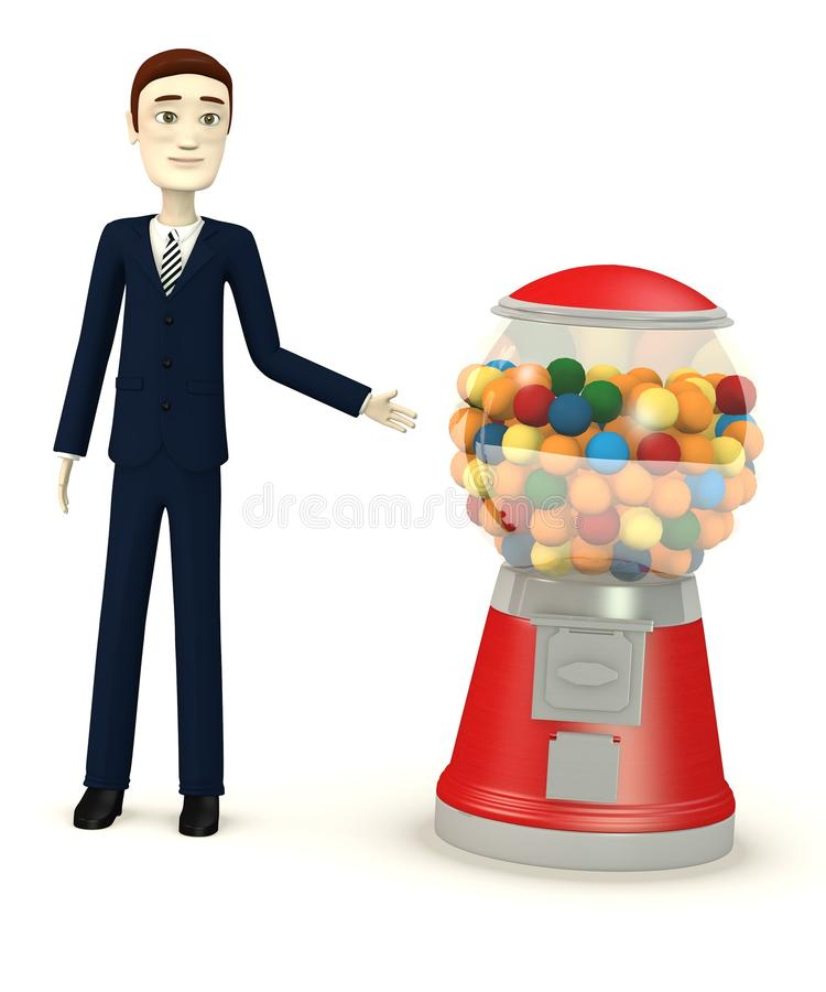 Geschäftsmann mit bubblegum Maschine lizenzfreie abbildung