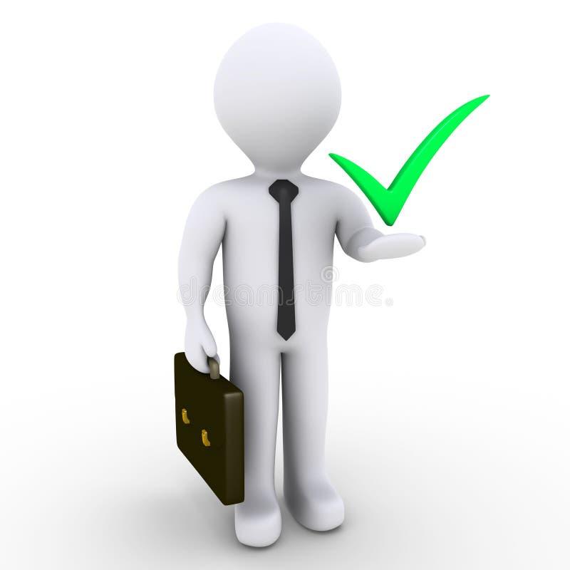 Geschäftsmann mit Checkmarkierungssymbol lizenzfreie abbildung