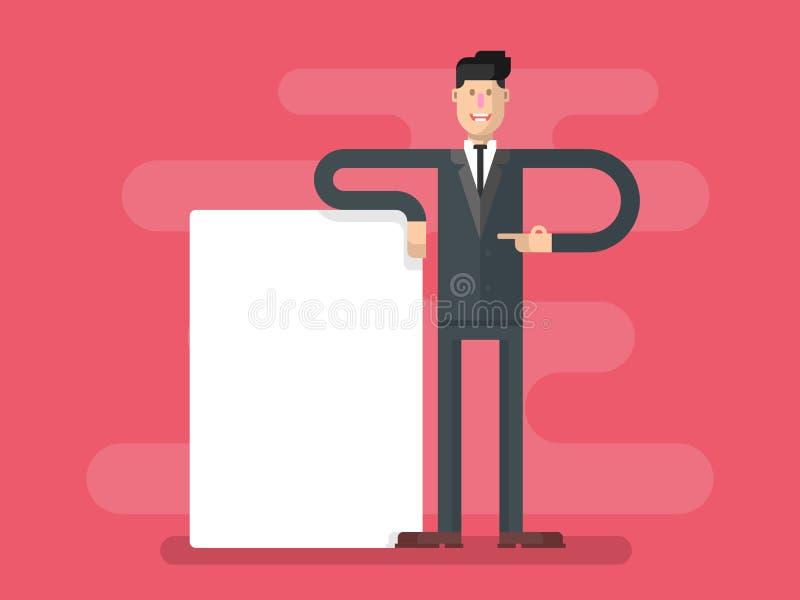Geschäftsmann mit dem Bekanntmachen vektor abbildung