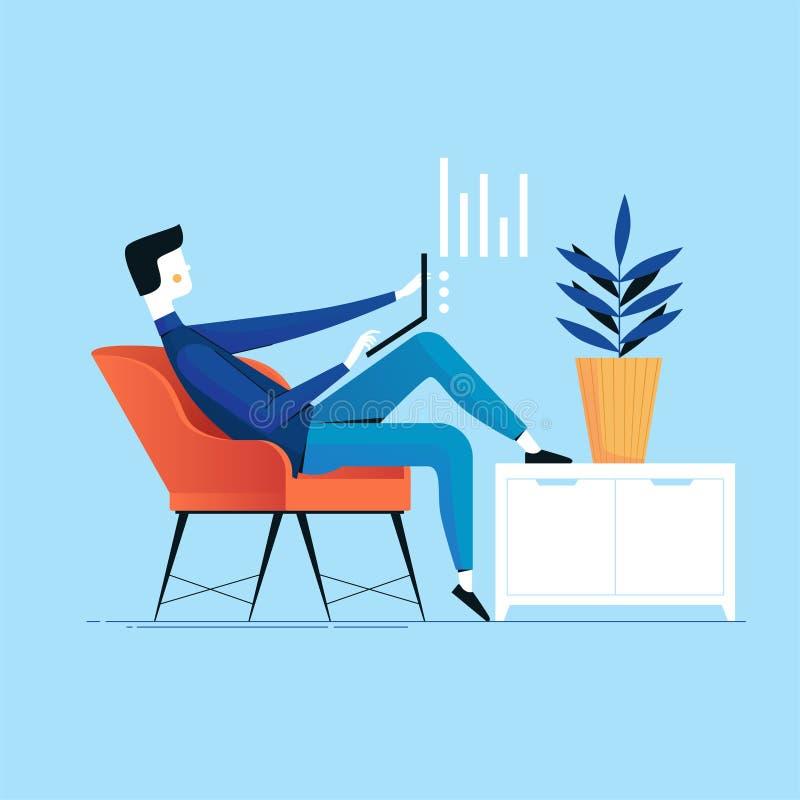 Geschäftsmann mit dem Laptop, der erfolgreich in einem Stuhl nahe bei dem Schrank und der Anlage arbeitet Vektorbegriffsillustrat stock abbildung