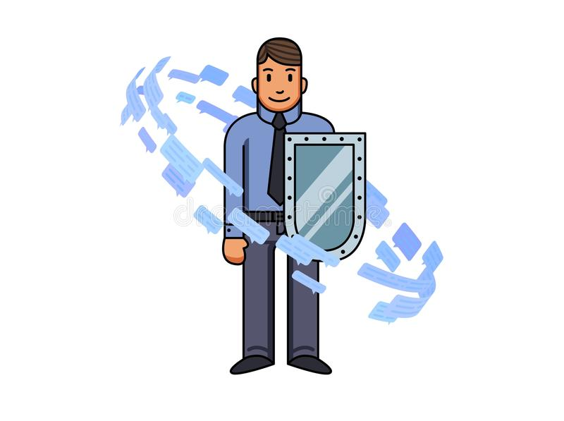 Geschäftsmann mit dem Schild, das durch Textnachrichten und Rede umgeben wird, sprudelt Informationsstrom flache Linie Vektor lizenzfreie abbildung