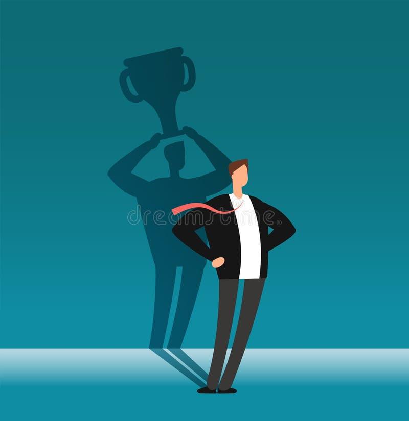 Geschäftsmann mit dem Siegerschatten, der Trophäencup hält Führung, Leistung und Geschäft fechten Vektorkonzept an stock abbildung
