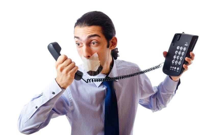 Geschäftsmann mit den Lippen versiegelt lizenzfreie stockfotografie
